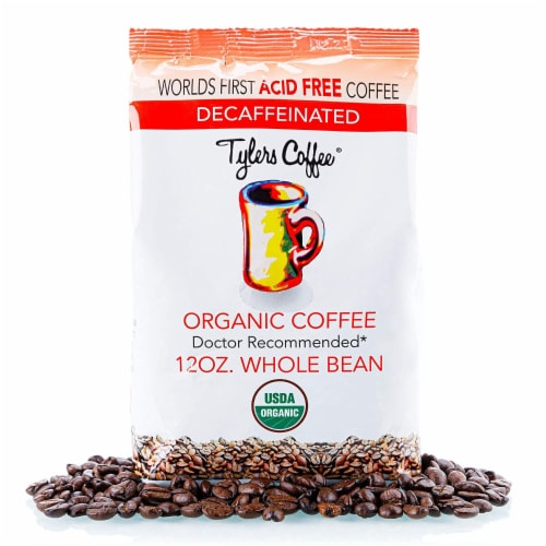 Tyler's No Acid Organic Coffee Beans, Arabica Full Flavor Decaf, 12 oz Perspective: front