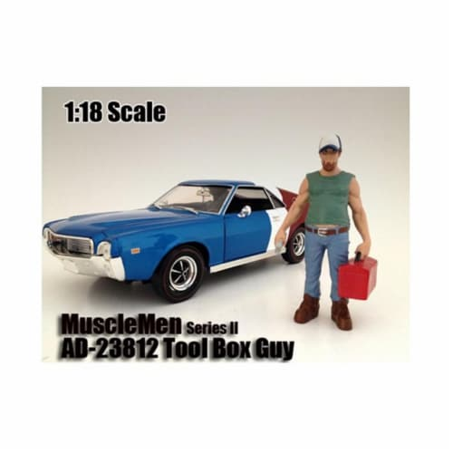 American Diorama 23812 Musclemen Tool Box Guy Figure for 1-18 Scale Models Perspective: front