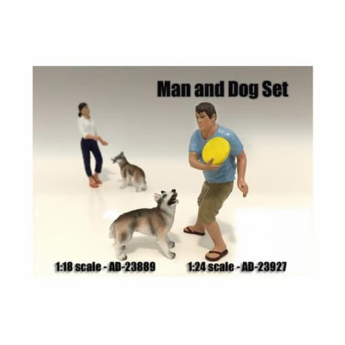 American Diorama 23927 Man & Dog 2 Piece Figure Set for 1-24 Scale Models Perspective: front