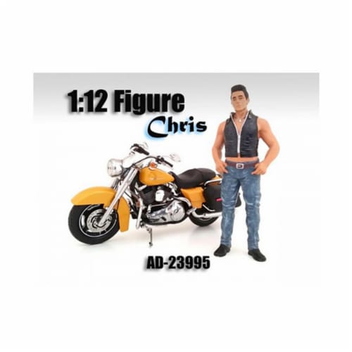 American Diorama 23995 Biker Chris Figure for 1-12 Scale Motorcycles Perspective: front