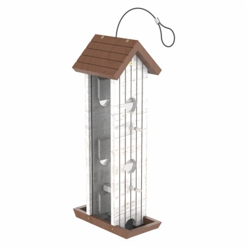 Stokes Select Wood Tower Bird Feeder - White/Brown Perspective: front