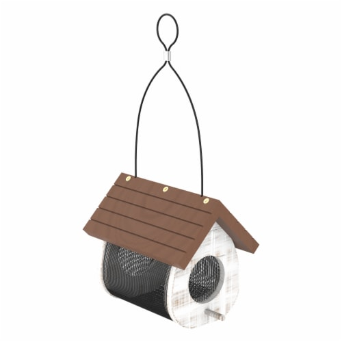 Stokes Select Cute Cling Wood Bird Feeder - White/Brown Perspective: front