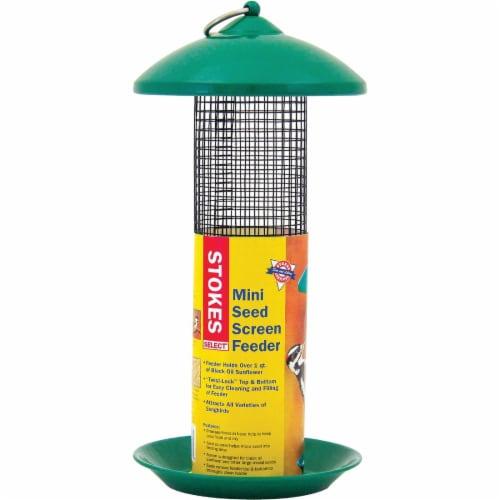 Stokes Select Green Plastic Mini Screen Tube Bird Feeder 38116 Perspective: front