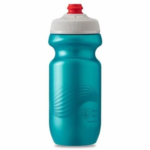 Polar Bottle 348165 20 oz Breakaway Wave Sport Water Bottle, Teal & Silver Perspective: front