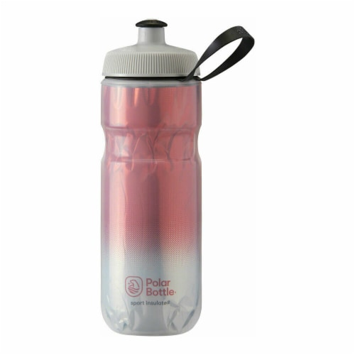 Polar Bottle 348179 20 oz Sport Insulated Fade Water Bottle, Red & Silver Perspective: front