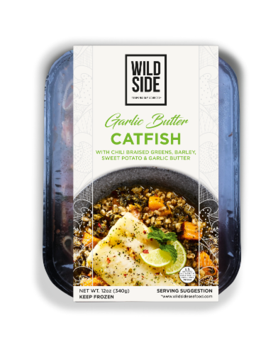 Wild Side Garlic Butter Catfish with Barley Perspective: front