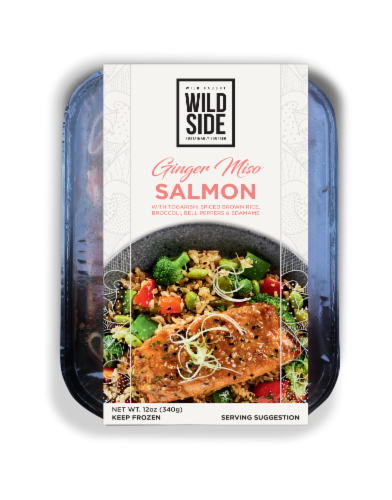 Wild Side Ginger Miso Salmon with Togarishi Spiced Brown Rice Perspective: front