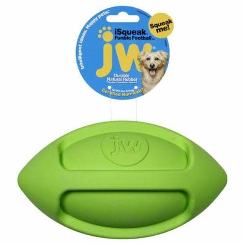 JW Pet Company Large Fumble Football Green Perspective: front