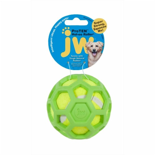 JW Pet Proten Holee Roller Rubber Tennis Ball Perspective: front