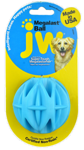 JW Pet Company Megalast Ball Medium Dog Toy Perspective: front