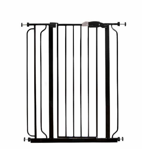 Regalo Easy Step Extra Tall Metal Walk Through Baby Safety Gate - Black Perspective: front