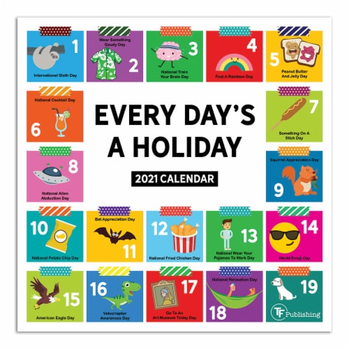 TF Publishing Every Day's A Holiday 2021 Mini Wall Calendar Perspective: front