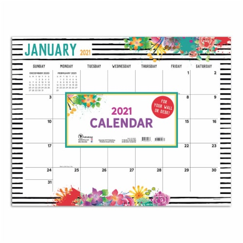 2021 Floral Deskpad Calendar by TF Publishing Perspective: front