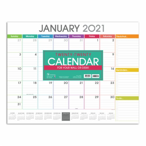 2021 Rainbow Blocks Deskpad Calendar by TF Publishing Perspective: front