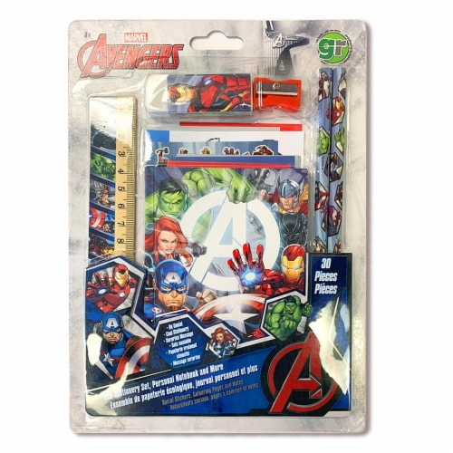 Marvel Avengers ECO-FRIENDLY Stationary Set, Personal Notebook and More... Perspective: front