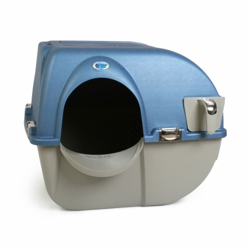 Omega Paw PR-RA15-1 Roll N Clean Self Separating Self Cleaning Litter Box, Blue Perspective: front