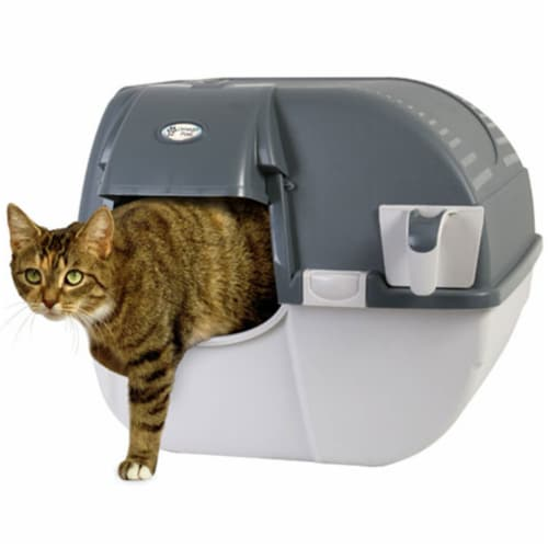 Omega Paw Easy Fill Roll n Clean No Scoop Self Cleaning Cat Litter Box, Gray Perspective: front
