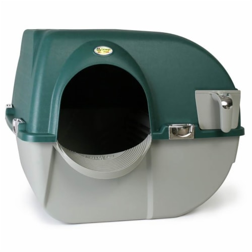 Omega Paw Roll'n Clean Unique No Scoop Self-Cleaning Home Cat Litter Box, Green Perspective: front