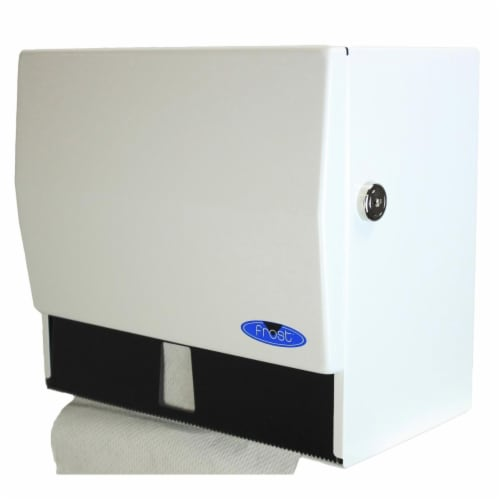 Frost Products 101-1 Combination Roll & Single Fold Towel Dispenser with Lock, White Perspective: front