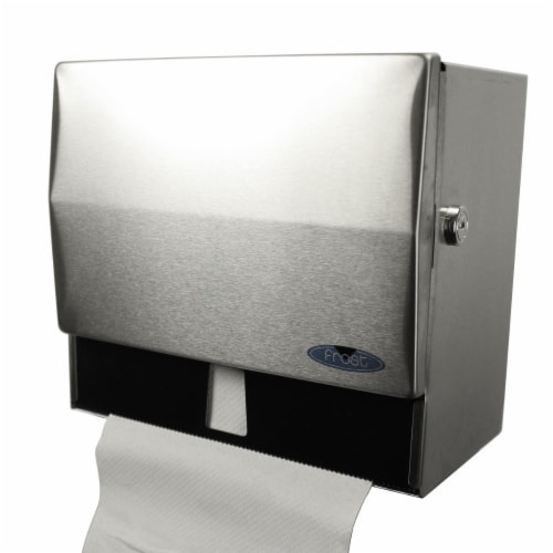 Frost Products 103-1 Combination Roll & Single Fold Towel Dispenser with Lock - Stainless Ste Perspective: front