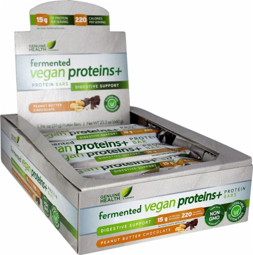 Genuine Health Fermented Vegan Proteins+ Peanut Butter Chocolate Digestive Support Protein Bars Perspective: front