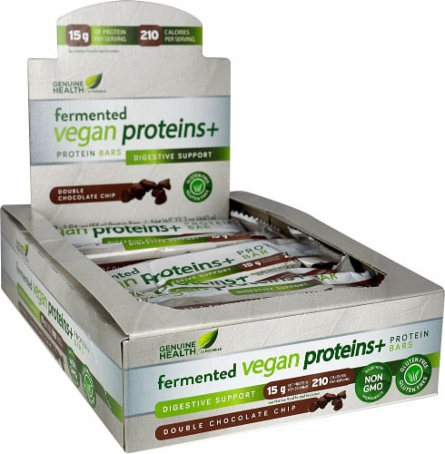 Genuine Health  Fermented Vegan Proteins plus Protein Bars Digestive Support   Double Chocolate Chip Perspective: front