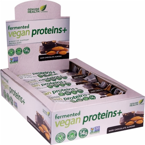 Genuine Health Fermented Vegan Proteins+ Dark Chocolate Almond Flavor Digestive Support Protein Bars Perspective: front