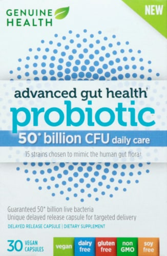 Genuine Health Advanced Gut Health Probiotic Daily Care Capsules Perspective: front