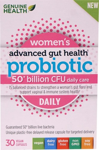 Genuine Health Women's Advanced Gut Health Probiotic Daily Vegan Capsules Perspective: front