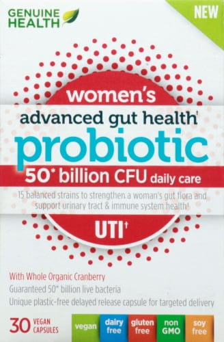 Genuine Health  Women's Advanced Gut Health Probiotic Daily UTI Perspective: front