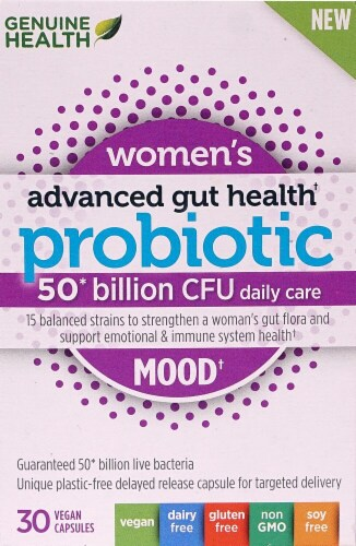 Genuine Health Women's Advanced Gut Health Probiotic Mood Vegan Capsules Perspective: front