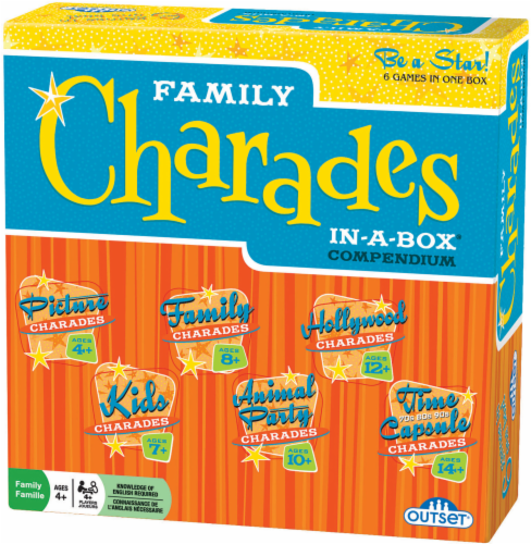 Outset Media® Family Charades In-a-Box Compendium Game Perspective: front