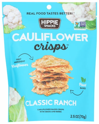 Hippie Snacks Classic Ranch Cauliflower Crisps Perspective: front
