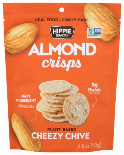 Hippie Snacks Cheezy Chive Almond Crisps Perspective: front