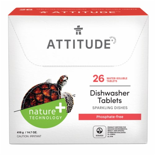 Attitude Sparkling Dishes Dishwasher Tablets 26 Count Perspective: front