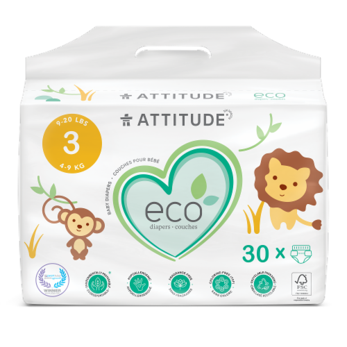 Attitude Biodegradable Size 3 Diapers Perspective: front