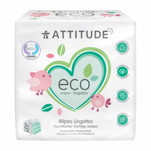 Attitude Eco Biodegradable Baby Wipes Perspective: front
