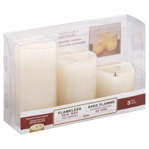 Inglow Flameless Real Wax LED Pillar Candles - Cream Perspective: front