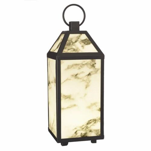 Paradise Lighting 8015509 LED Plastic Flameless Lantern, Black & White Perspective: front
