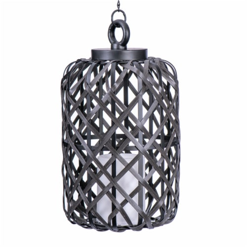 Sterno Home Battery-Operated Woven Basket Candle Pendant Light - Black Perspective: front