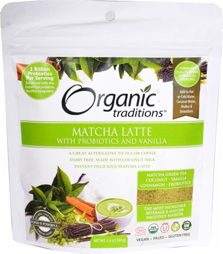 Organic Traditions  Matcha Latte with Probiotics and Vanilla Perspective: front