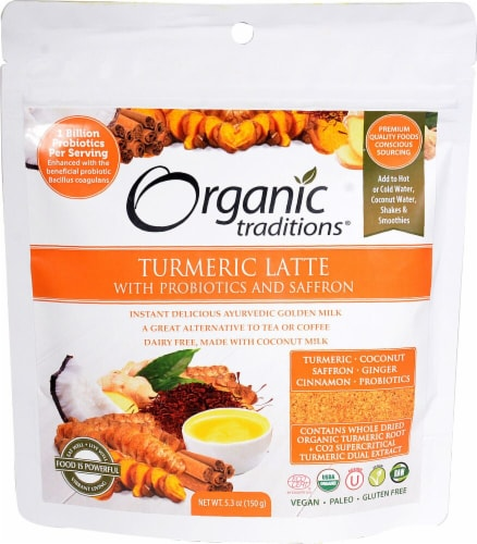 Organic Traditions  Turmeric Latte with Probiotics and Saffron Perspective: front