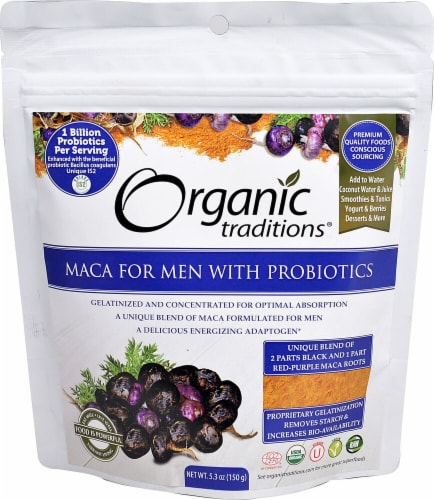 Organic Traditions Maca For Men with Probiotics Perspective: front