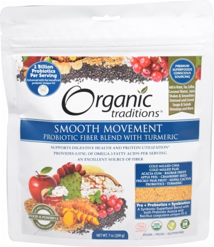 Organic Traditions  Smooth Movement Probiotic Fiber Blend with Turmeric Perspective: front