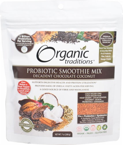 Organic Traditions Probiotic Chocolate Coconut Smoothie Mix Perspective: front