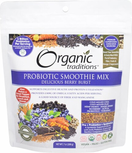 Organic Traditions Probiotic Berry Burst Smoothie Mix Perspective: front