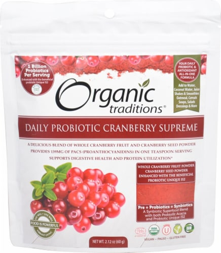 Organic Traditions Cranberry Supreme Daily Probiotic Perspective: front