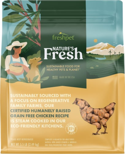 Freshpet Nature's Grain Free Chicken Roasted Meals Wet Dog Food Perspective: front