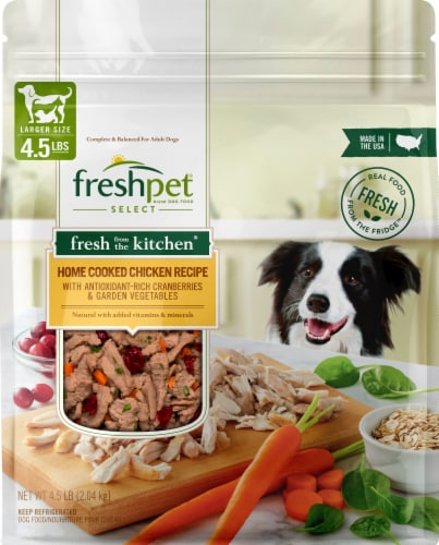 Freshpet Select Home Cooked Chicken Recipe with Garden Vegetables & Cranberries Dog Food Perspective: front