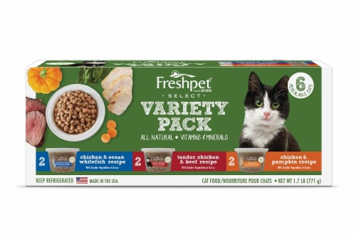 Freshpet Healthy & Natural Wet Cat Food Variety Pack Perspective: front